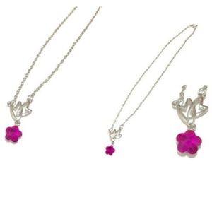 Jewelry - Double Heart Crossing Pendant / Flower Charm